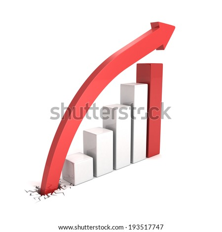rising growing bar chart graph with arrow. business success concept 3d render illustration - stock photo