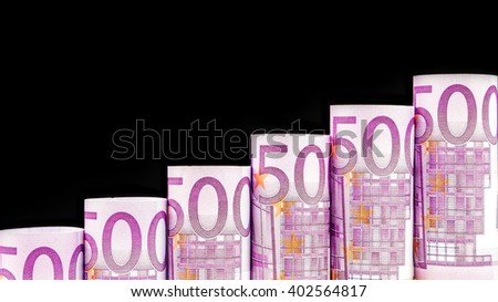 rising steps made of 500 euro banknotes on black  background - stock photo