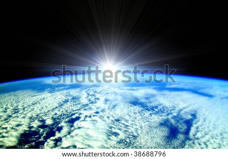 Rising Sun over Earth horizon illustration - stock photo
