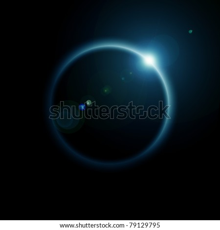 Rising Sun over the planet - stock photo
