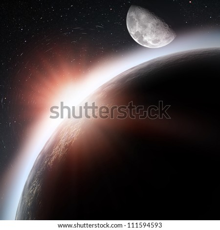 Rising sun under the Earth planet, abstract backgrounds - stock photo