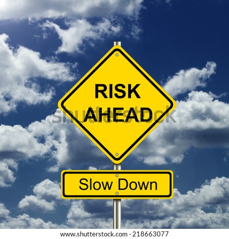 Risk Ahead Road Sign - stock photo