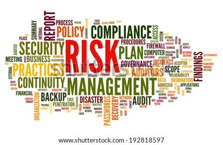 Risk and compliance in word tag cloud on white - stock photo