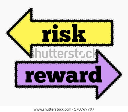 Risk and reward signs in yellow and purple arrows concept - stock photo