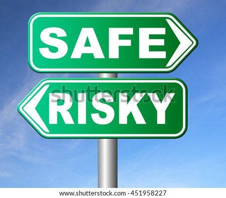 risk assessment ormanagement, safe or risky take a chance and gamble safety for prevention of danger 3D illustration, isolated, on white   - stock photo