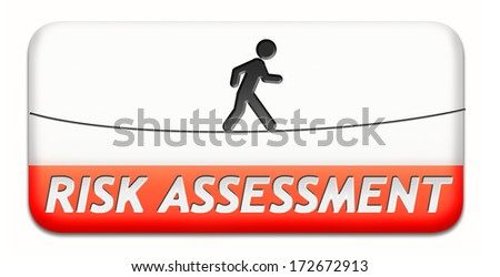 risk assessment warning sign danger ahead button or icon - stock photo
