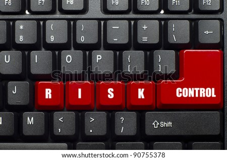 risk control word on red and black keyboard button - stock photo