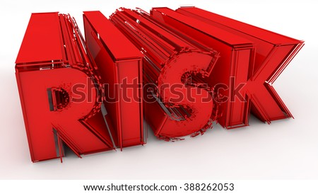 Risk 3d red text sign - stock photo