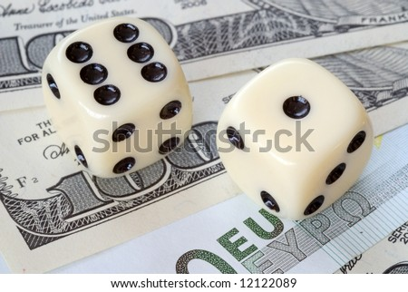 risk factor on euro and dollar markets - stock photo