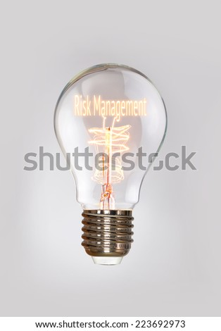 Risk Management concept in a filament lightbulb. - stock photo