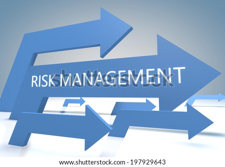 Risk Management 3d render concept with blue arrows on a bluegrey background. - stock photo