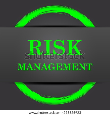 Risk management icon. Internet button with green on grey background.  - stock photo