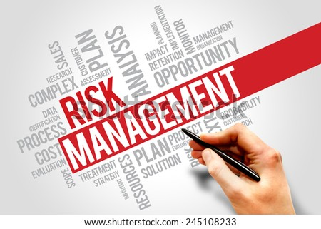 Risk Management Identifying, Evaluating And Treating Risks, business concept words cloud - stock photo