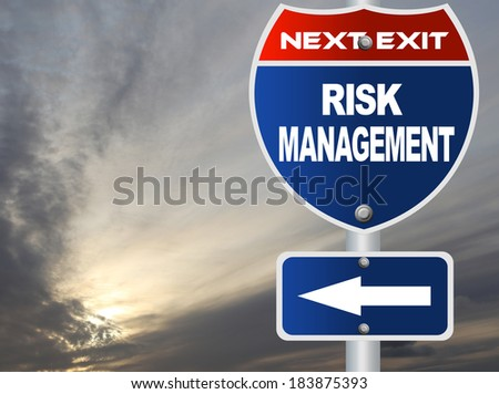 Risk management road sign - stock photo