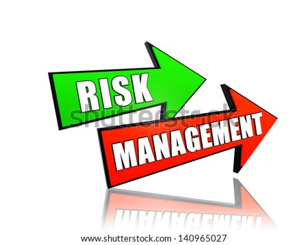 risk management - text in 3d arrows, business concept words - stock photo