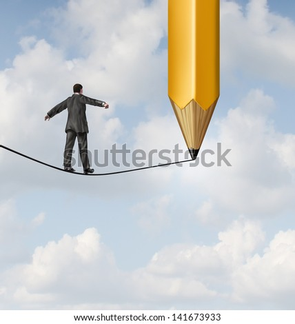 Risk planning and leadership solutions as a businessman walking on a tight rope and a pencil drawing a future path for the road ahead as a business concept of adapting to change for success. - stock photo