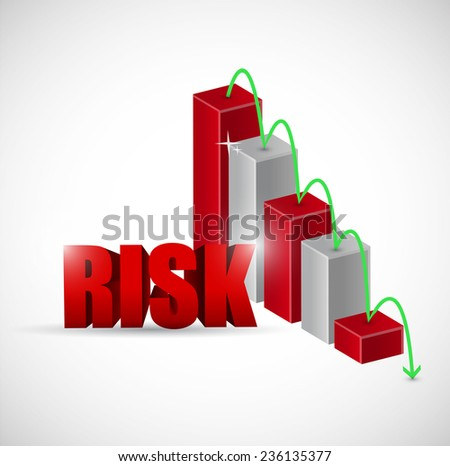 risk red business graph illustration design over a white background - stock photo