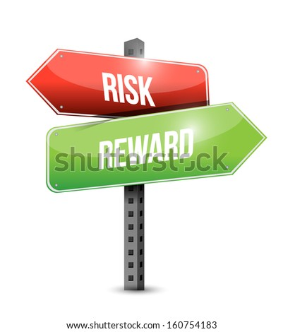 risk reward road sign illustration design over a white background - stock photo