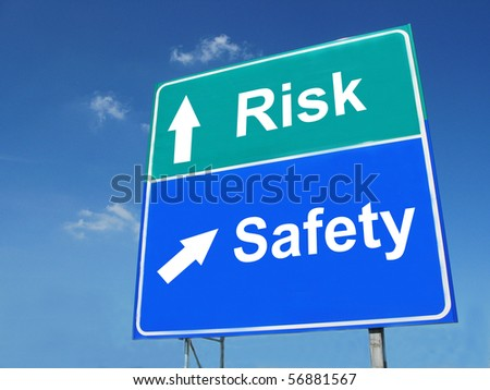 RISK--SAFETY road sign - stock photo
