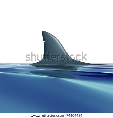 Risk symbol with shark fin above water representing future danger and risk from predators. - stock photo