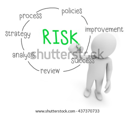 risk text ,business man writing risk concept ,Man explain solution of risk , 3d rendering - stock photo