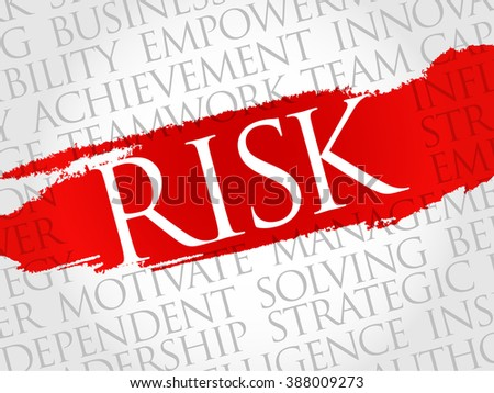 Risk word cloud, business concept - stock photo