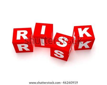 Risk word concept. Red blocks spelling risk isolated on white background - stock photo