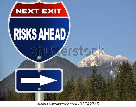 Risks ahead road sign - stock photo