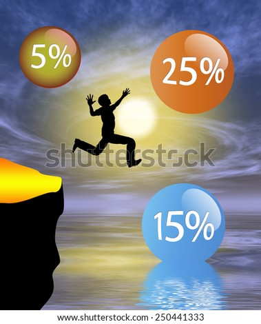 Risky Venture. Humorous concept sign of person hunting for high yield assets with the risk of total loss - stock photo