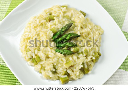 Risotto with Asparagus - stock photo