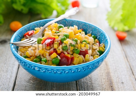 Risotto with vegetables - stock photo