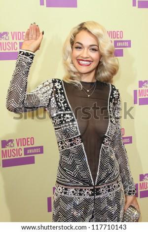Rita Ora at the 2012 Video Music Awards Arrivals, Staples Center, Los Angeles, CA 09-06-12 - stock photo