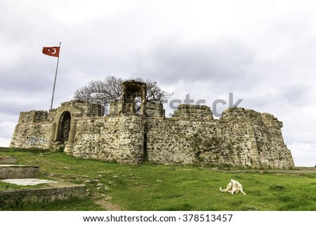 Riva Castle is a Byzantine coastal fortification situated on a hill where Riva Creek meets the Black Sea in Riva, Beykoz, Greater Istanbul - stock photo