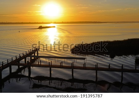 river and boat - stock photo