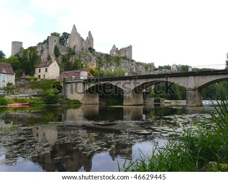 River and castle ruins at Angles sur lâ??Anglin, France - stock photo