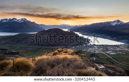 river and mountain landscape in Queenstown, New Zealand - stock photo
