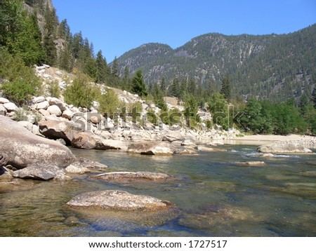 River and mountains - stock photo