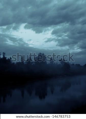 River at night - stock photo