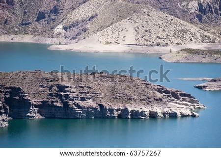 river Atuel, San Rafael, Mendoza, Argentina - stock photo