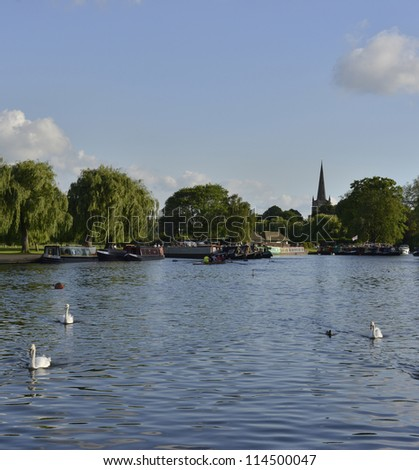 river avon stratford upon avon warwickshire midlands england uk - stock photo
