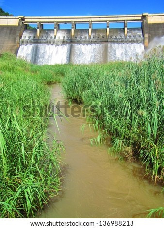 River coming from dam wall. Shot in Hazelmere Dam Nature Reserve, near Durban, North Coast of Kwazulu-Natal, South Africa. - stock photo