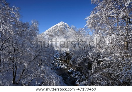 River Coupall and Buachaille Etive Mor. - stock photo