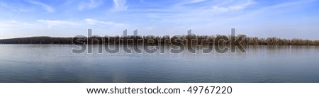River Danube at early spring extra large panoramic image - stock photo