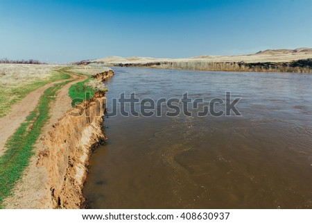 River during flood - stock photo