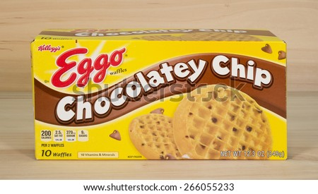RIVER FALLS,WISCONSIN-APRIL2,2015: A box of Eggo Chocolate Chip waffles. These waffles are distributed by Kelloggs of Battle Creek Michigan. - stock photo