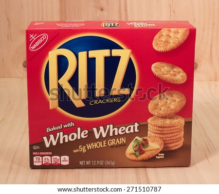 RIVER FALLS,WISCONSIN-APRIL 21,2015: A box of Ritz Whole Wheat snack crackers. The Ritz brand was introduced by Nabisco in Nineteen Thirty Four. - stock photo