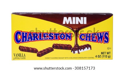 RIVER FALLS,WISCONSIN-AUGUST 20,2015: A box of Charleston Chews candy bars. This candy is distributed by Tootsie Roll Industries. - stock photo