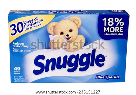 RIVER FALLS,WISCONSIN-DECEMBER 03,2014: A box of Snuggle brand dryer sheets. Snuggle is a brand distributed by Sun Products Corporation. - stock photo