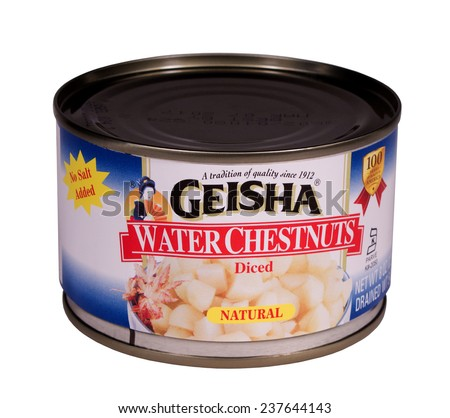 RIVER FALLS,WISCONSIN-DECEMBER 14,2014: A can of Geisha brand Water Chestnuts. Water chestnuts are a staple in many Asian dishes. - stock photo