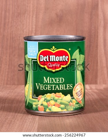 RIVER FALLS,WISCONSIN-FEBRUARY 25,2015: A can of Del Monte mixed vegetables. Del Monte Foods Incorporated is headquartered in San Francisco. - stock photo